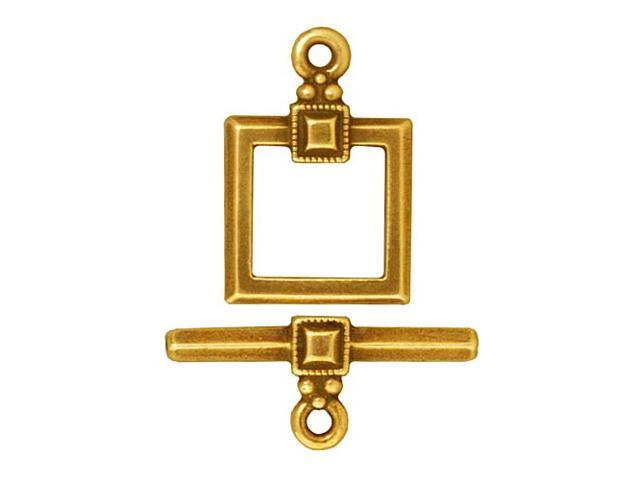 22K Gold Plated Pewter Deco Square Toggle Clasp 12.5mm (1)
