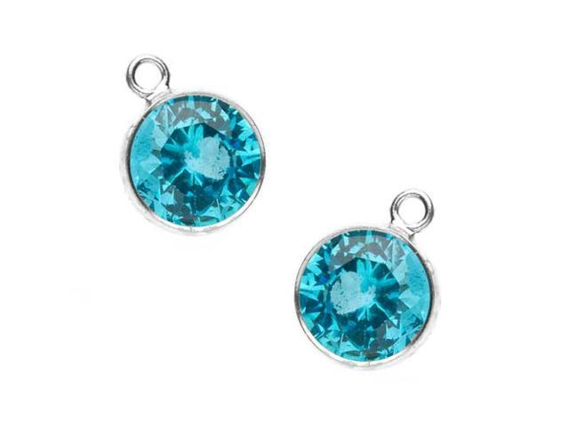 Sterling Silver Cubic Zirconia Drop Beads Aquamarine (2 Pieces)