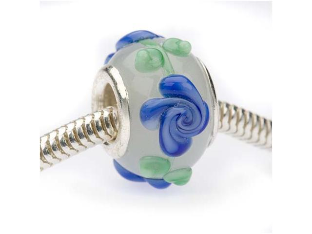 Glass Lampwork Bumpy Euro Style Large Hole Bead - Milk White W/Blue Flowers 14mm