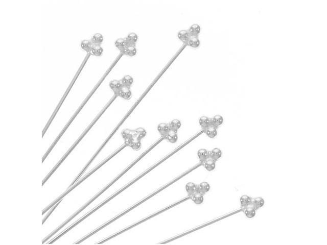 Fancy Bali Style Silver 3-Ball Head Pins 1.5 In (10)