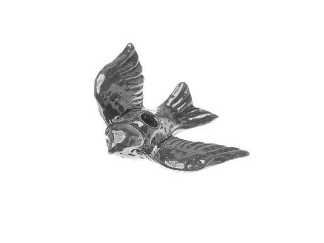 Green Girl Studios Bead, 21mm Flying Bird, 1 Piece, Pewter