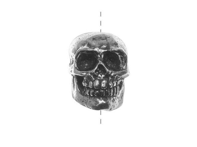 Green Girl Studios Focal Bead, 15mm Smiling Skull, 1 Piece, Pewter