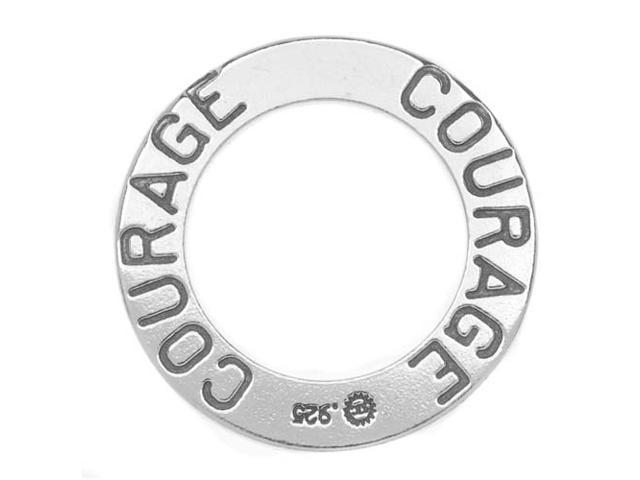 Sterling Silver Message Charm, 'Courage' 22mm Ring, 1 Piece, Antiqued Silver