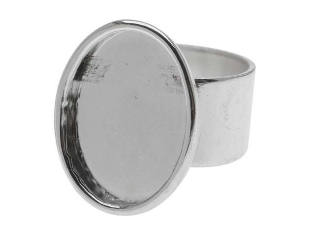Nunn Design Bright Silver Plated Pewter Large Bezel Oval Adjustable Ring (1)