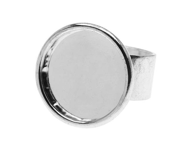 Nunn Design Bright Silver Plated Pewter Large Bezel Round Adjustable Ring (1)