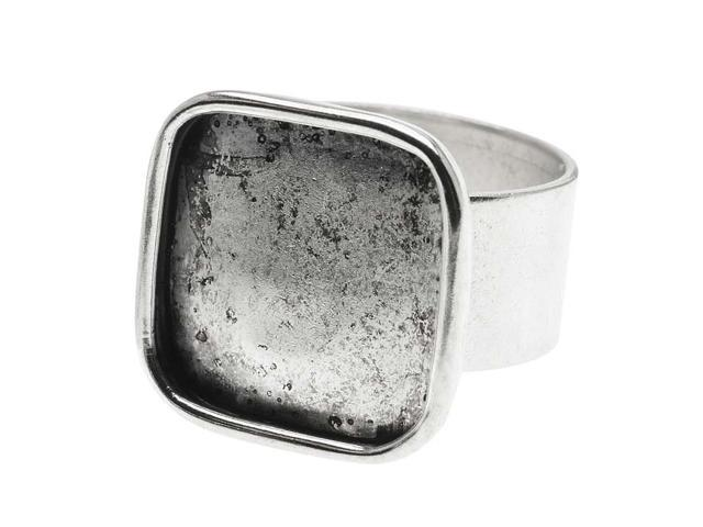 Nunn Design Antique Silver Plated Pewter Large Bezel 16mm Square Ring (1)