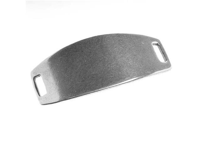 Antiqued Silver Plated Curved Blank Bracelet Link Panel