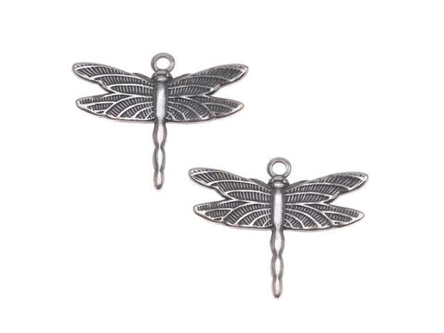 Antiqued Silver Plated Stamping Dragonfly Charms 13mm/2