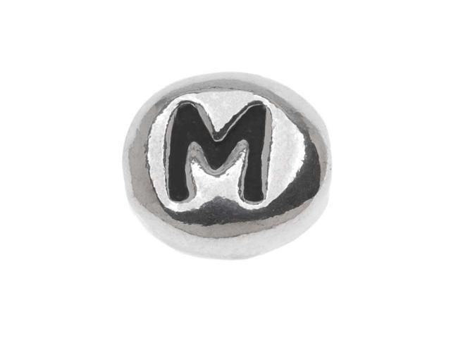 Lead-Free Pewter Alphabet Bead, Letter 'M' 8mm Oval, 1 Piece, Antiqued Silver