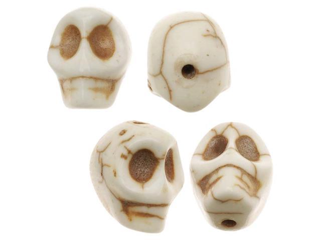 White Turquoise Gem Carved Skull Beads 10X12mm (20)