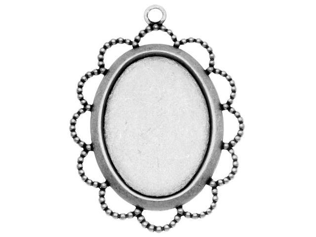 Antiqued Silver Plated Bezel Pendant With Beaded Floral Edge 18x25mm (4)