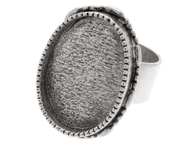 Nunn Design Ant. Silver Plated Pewter Bezel Oval Adjustable Ring 22.5x30mm