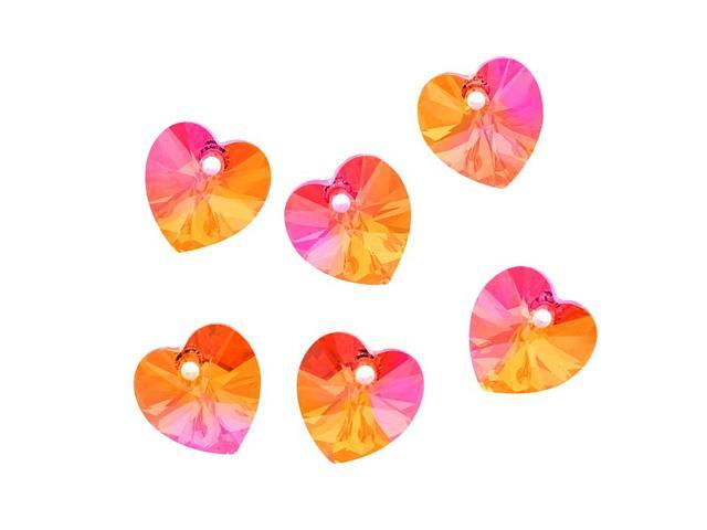 Swarovski Crystal, #6228 Heart Pendants 10mm, 6 Pieces, Crystal Astral Pink