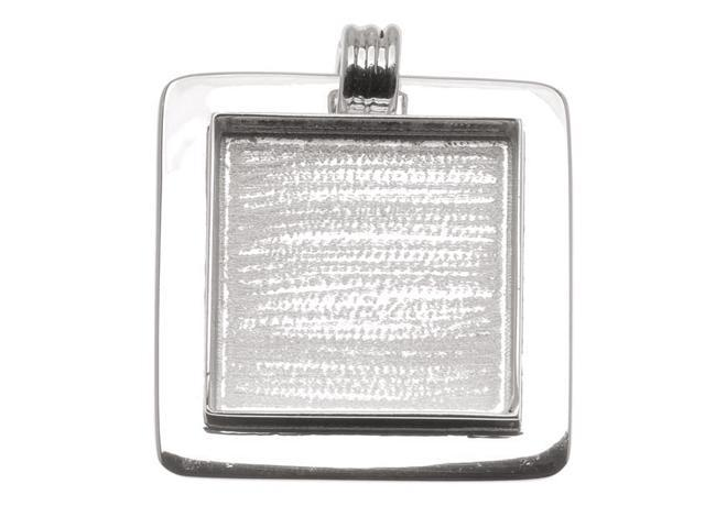 Amate Studio Silver Plated Fancy Raised Square Bezel Pendant 33.5mm (1)