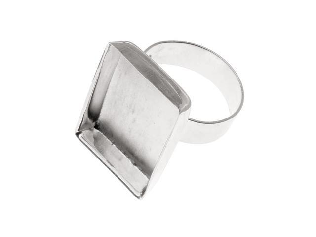Amate Studios Silver Plated Rectangle Bezel Adjustable Ring 19x25.5mm (1)