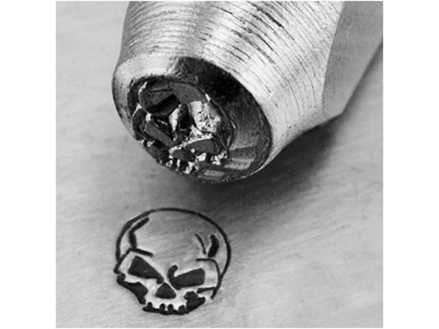 ImpressArt Metal Punch Stamp 'Angry Skull' 6mm (1/4 Inch) Design - 1 Piece