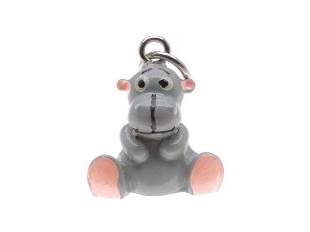 Hand Painted 3D Resin Charm - Honey The Hippo - Gray 15mm (1)
