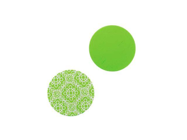 Lillypilly Aluminum Circle Stamping Lime Green W/Spanish Tile Pattern 16mm