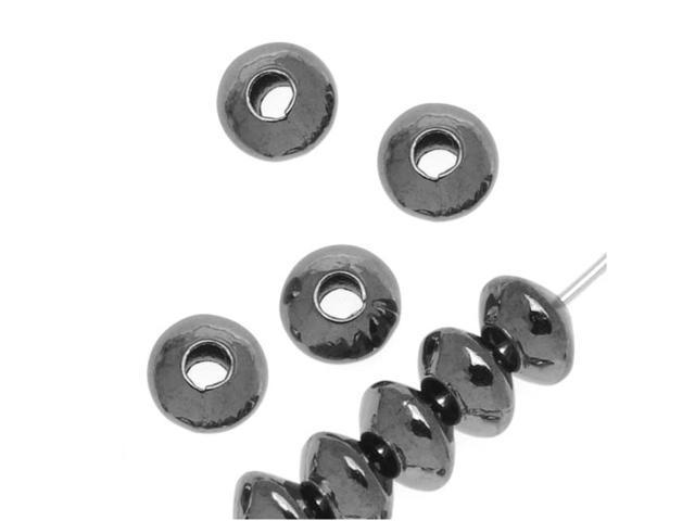 Gun Metal Plated Sleek Saucer Metal Beads 5 x 3mm - 100 Pieces