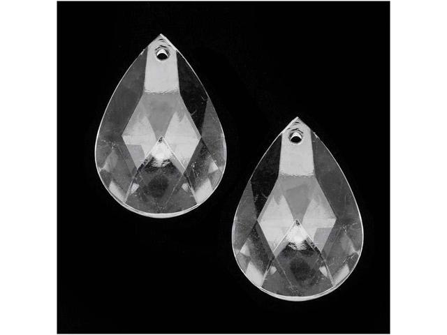 Clear Acrylic Large Faceted Teardrop Pendant - 34x23mm (10 Pieces)