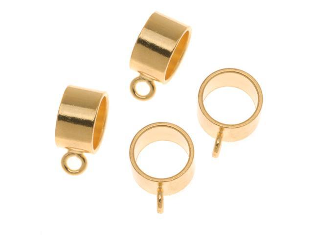 22K Gold Plated Round Slider Bail - Fits Up To 8mm Cord (4 Pieces)