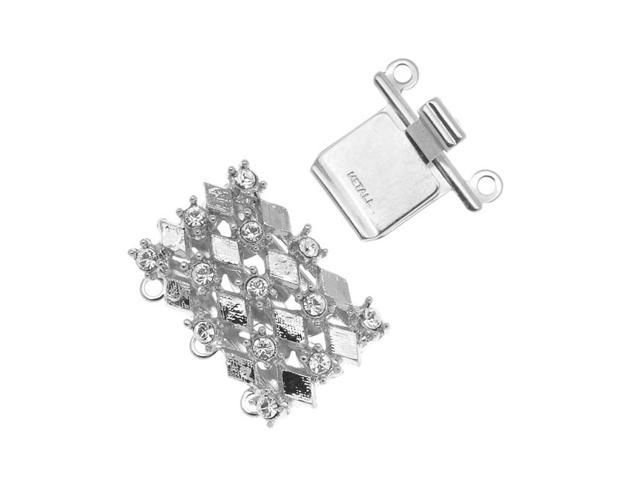 Rhodium Plated 3-Strand Box Clasp - Diamond Design With Crystals - 21x16mm