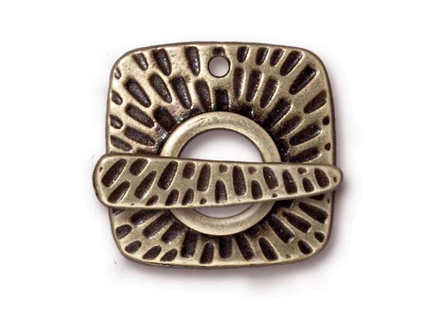 Brass Oxide Finish Pewter Textured Radiant Toggle Clasp 22mm (1)