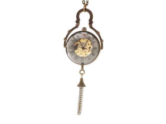 Steampunk Pocket Watch Pendant - Antiqued Brass - Domed With Mechanical Movement