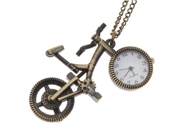 Pocket Watch Pendant - Antiqued Brass Quartz Motion - Bicycle W/ Chain - 64x38mm