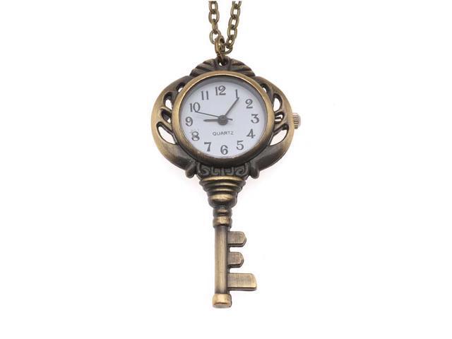 Pocket Watch Pendant - Antiqued Brass Quartz Motion - Key W/ Chain - 56x32mm