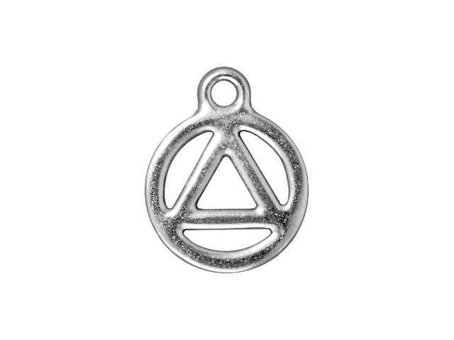 Rhodium Plated Pewter Recovery Symbol Charm 19.5mm (1)