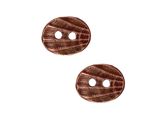 Antiqued Copper Plated Pewter Seashell Shaped Button 13.5x17mm (2)