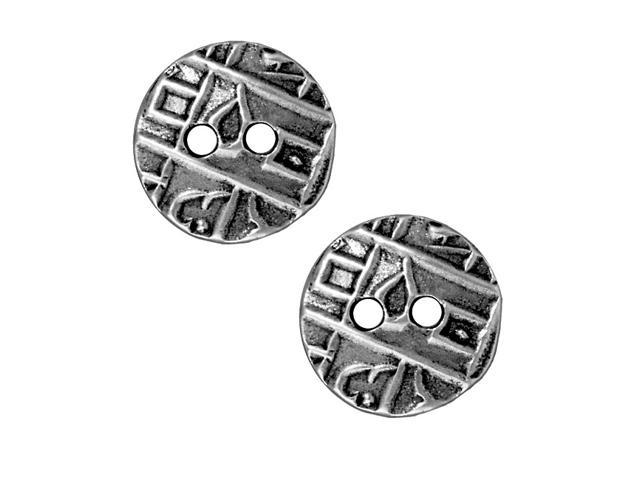 Antiqued Pewter Coin Button Abstract Design 17.5mm (2)