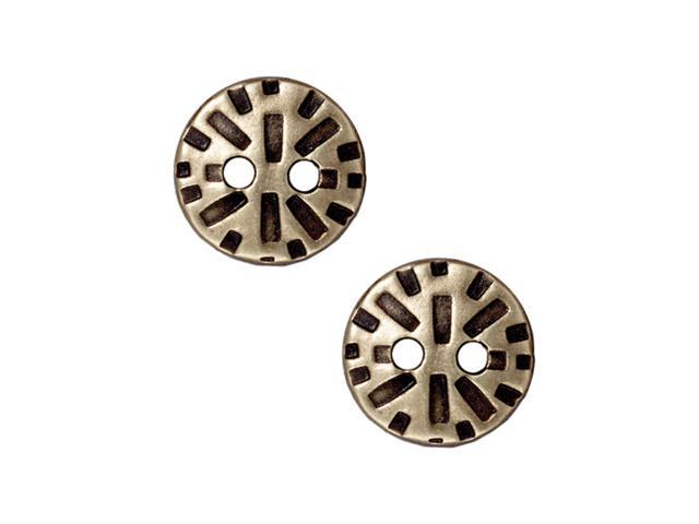 Brass Oxide Finish Pewter 'Radiant' Round Button 15mm (2)