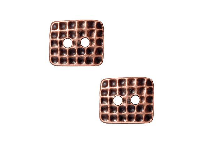 Antiqued Copper Plated Pewter Rectangle Hammered Texture Button 12.5x15mm (2)