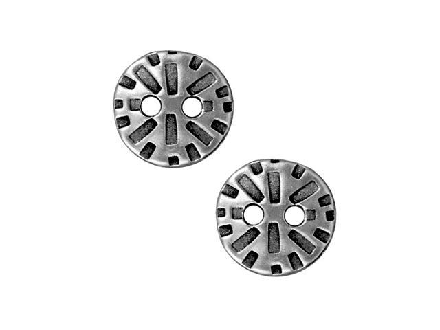 Antiqued Pewter 'Radiant' Round Button 15mm (2)