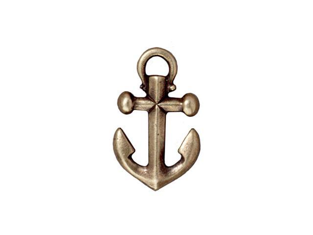 Brass Oxide Finish Pewter Anchor Pendant 27mm (1)