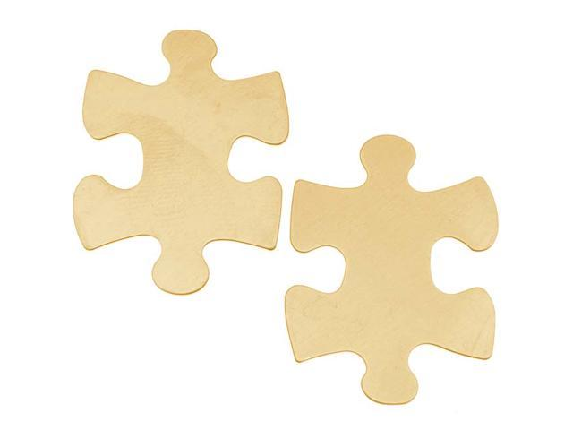 Solid Brass Blank Stamping 'Puzzle Piece' Autism Awareness - 31.5x23.5mm (2)