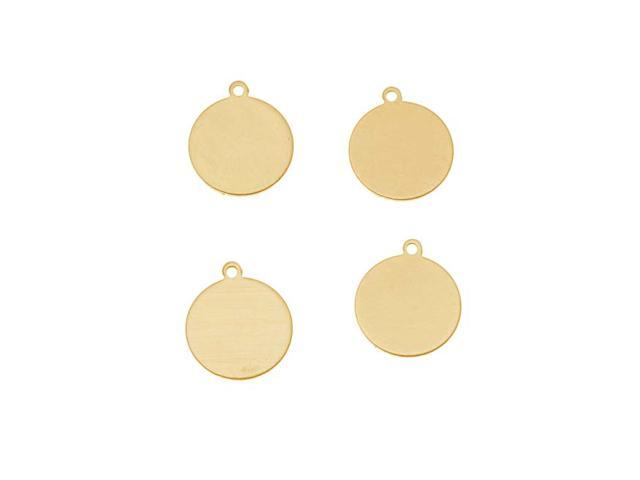 Brass Stamping Blank, Circle With Loop 10.5mm, 4 Pieces, Brass