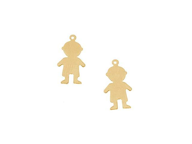 Brass Stamping Blank, Little Boy With Loop 18mm, 2 Pieces, Brass