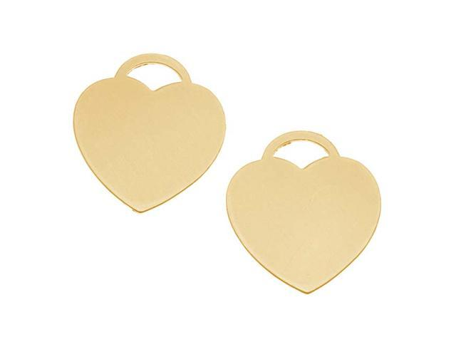 Solid Brass Blank Stamping 'Heart' Pendant 24mm (2)