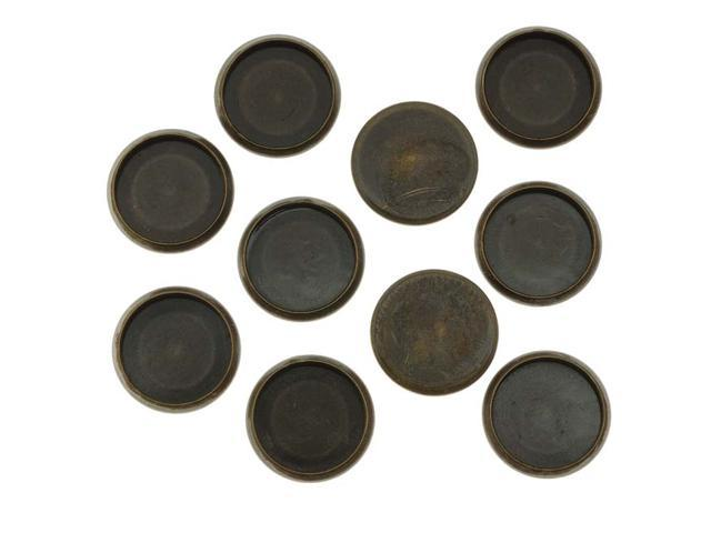 Antiqued Brass Flat Round Bezel Cup Cabochon Setting 14mm (10)