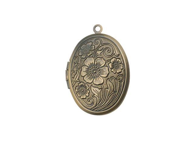 Antiqued Brass Oval Locket Pendant With Floral Paisley Design 30x24mm (1)