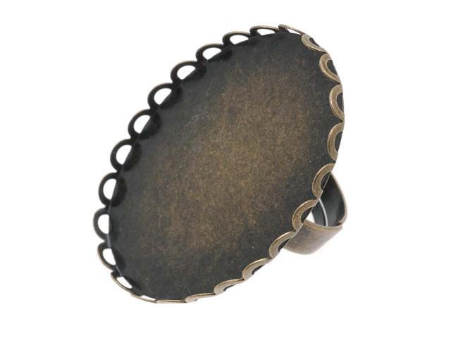 Antiqued Brass Oval Bezel Adjustable Ring 40.5x31mm (1)