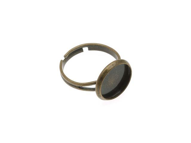 Antiqued Brass Small Round Bezel Adjustable Ring 14mm (1)