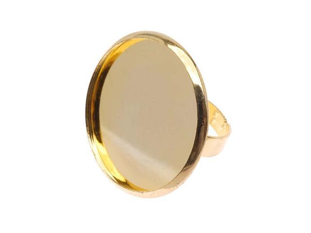 Gold Tone Brass 30mm Round Bezel Adjustable Ring (1)