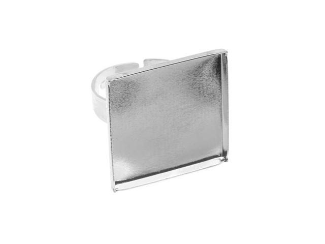 Silver Tone Brass Square Bezel Adjustable Ring 23mm (1)