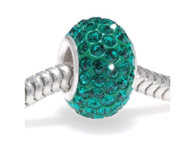 Sterling Silver Crystal Pave Bead -12x7.5mm- May Birthstone Emerald Color