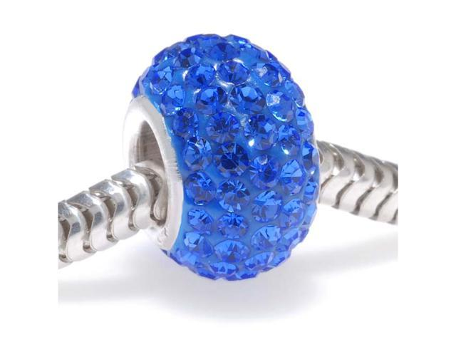Sterling Silver Crystal Pave Bead -12x7.5mm- September Birthstone Sapphire Color