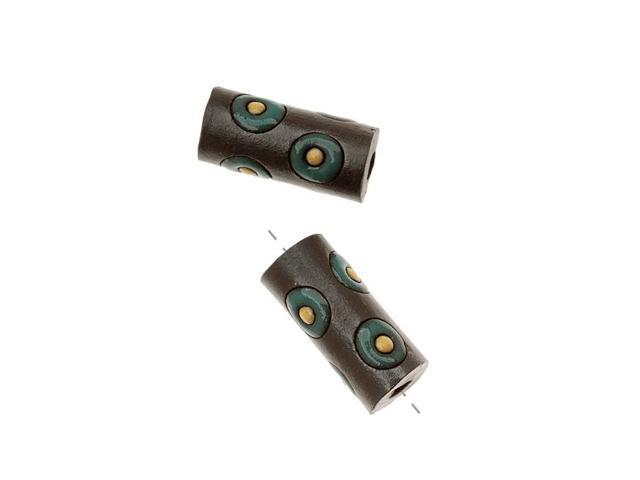 Golem Design Studio Ceramic Beads 17mm Glazed Tube Circles 2 Pcs Brown/Dk. Green